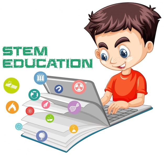 Мальчик ищет на ноутбуке с мультяшном стиле стебля образования логотип, изолированные на белом фоне Бесплатные векторы