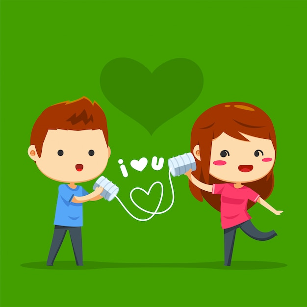 A boy sent love message through can wire Premium Vector