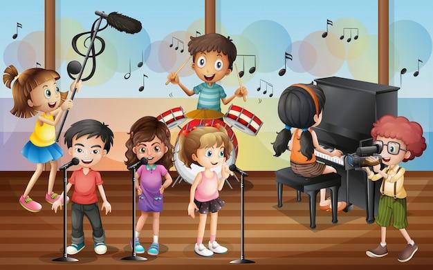 Boy shooting friends singing in the concert Premium Vector