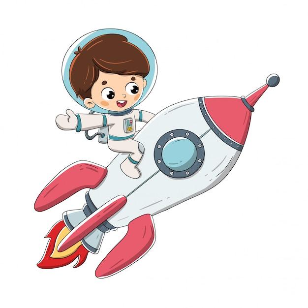 Boy sitting on a rocket flying through space Premium Vector