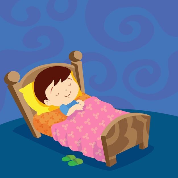 少年眠り甘い夢 Premiumベクター