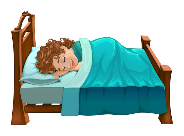Boy sleeping in bed Free Vector