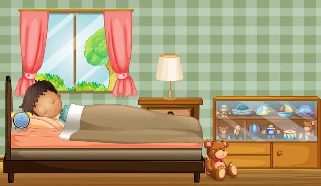 A boy sleeping soundly inside his room Premium Vector