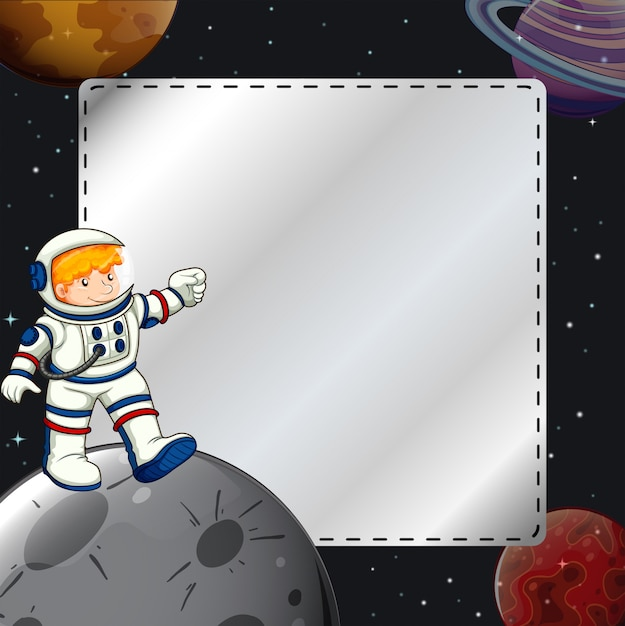 Boy in the space frame Free Vector