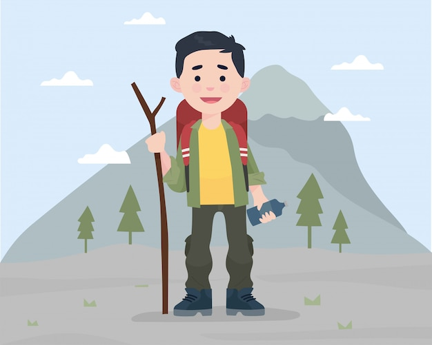 A boy standing in front of mountain with montain gear Premium Vector