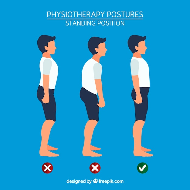 Boy standing with correct and incorrect posture Free Vector