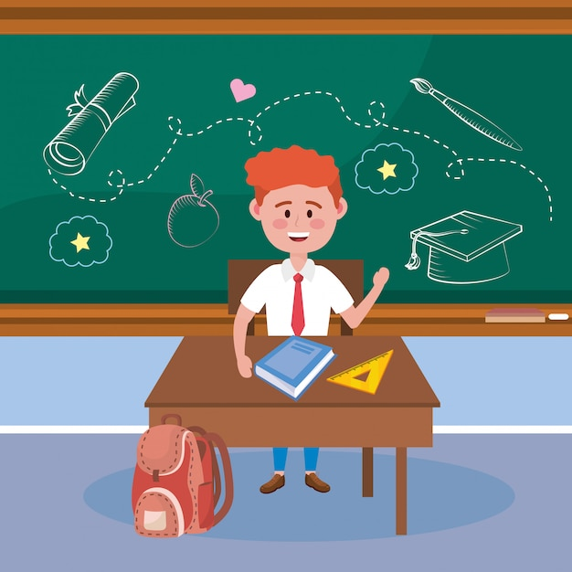 Boy student in the desk with book and triangle ruler Free Vector