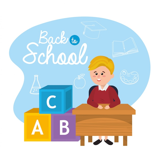 Boy student in the desk with cubes games Premium Vector