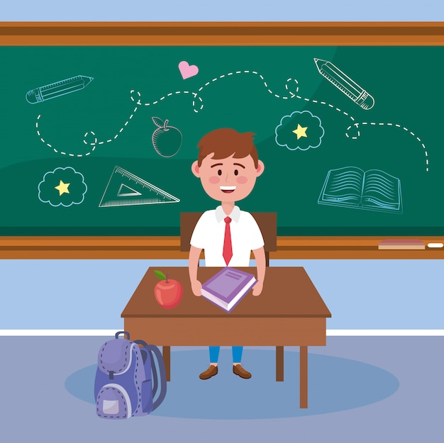 Boy student with apple fruit and book in the desk Free Vector
