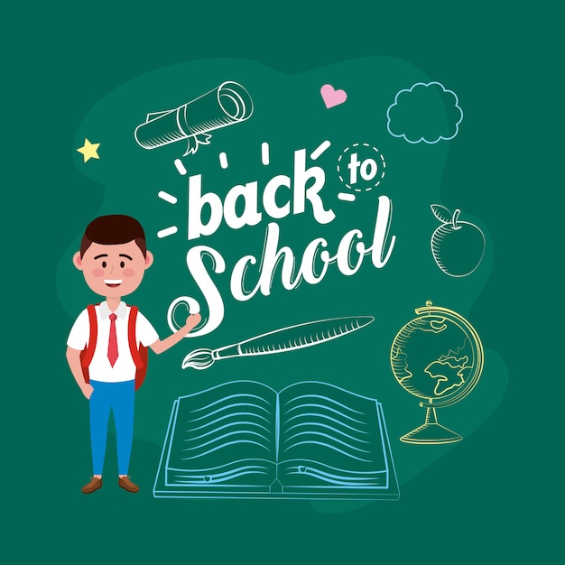 Boy student with backpack and book with brushpaint Free Vector