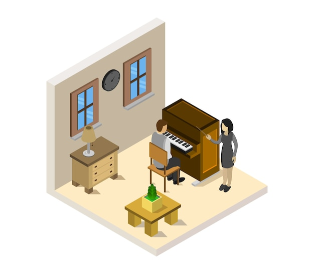 Boy studies isometric piano Free Vector