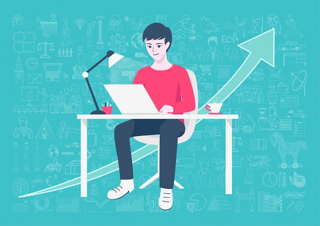 Boy studying background Free Vector
