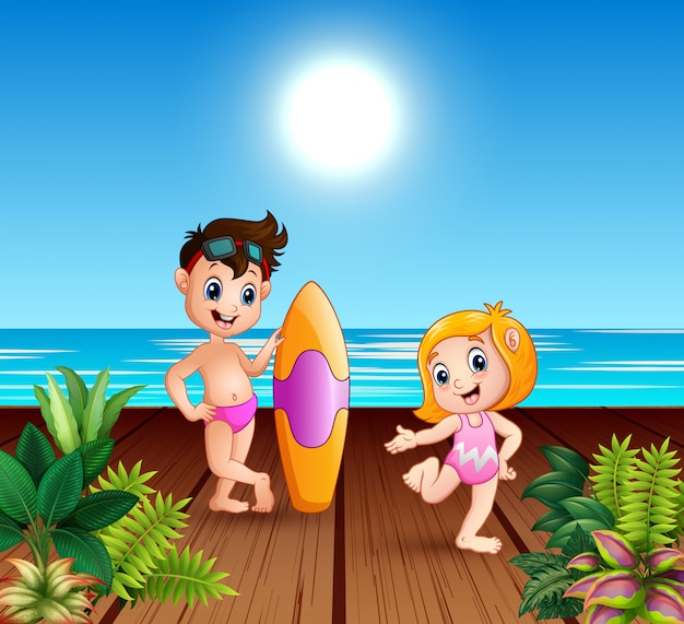 Boy in swimsuit holding a surfboard with girl on the pier Premium Vector