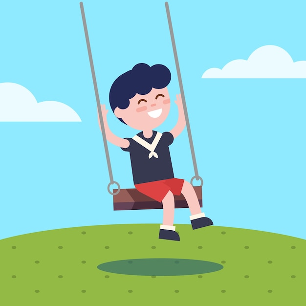 Boy swinging on a rope swing Free Vector