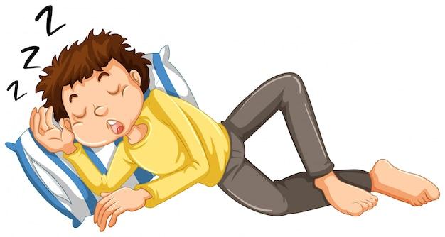 少年が昼寝する Premiumベクター