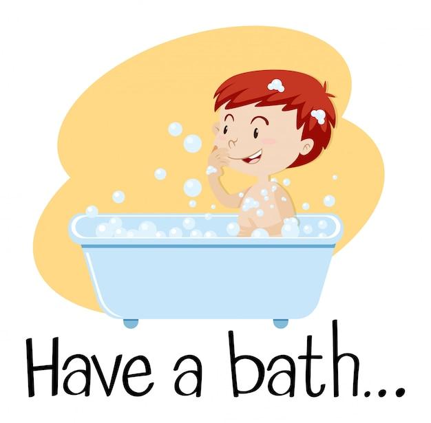 A boy taking a bath Free Vector