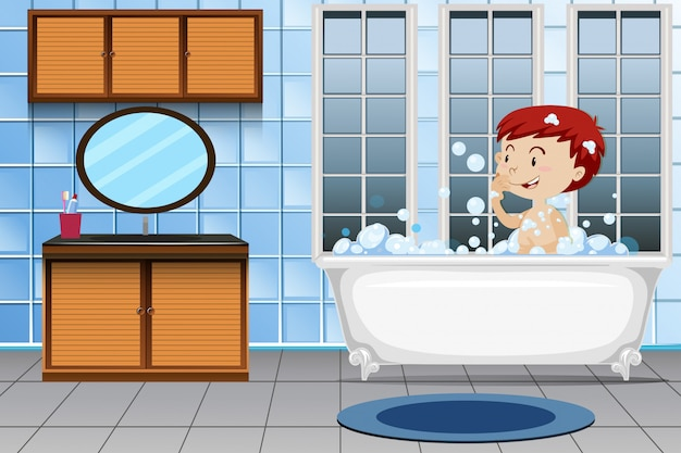 A boy taking bath Free Vector