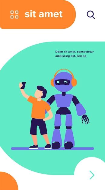 Ragazzo che cattura selfie con umanoide Vettore gratuito