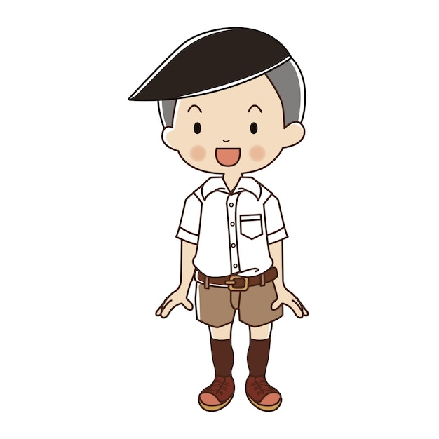 Boy in thai student uniform. Premium Vector