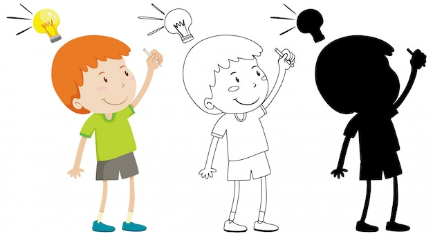 Boy and think lamp on head with its outline and silhouette Free Vector