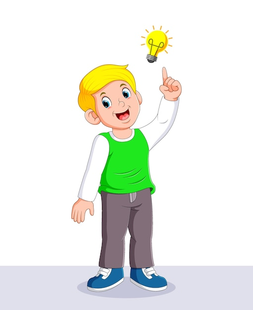 Мальчик, придумавший блестящую идею с желтой лампой над ним Premium векторы