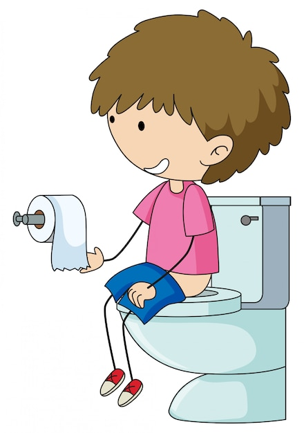 A boy in the toilet Free Vector