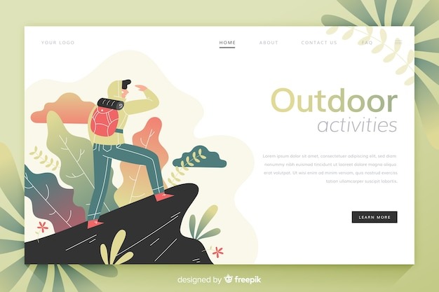 Boy at the top of a mountain landing page Free Vector