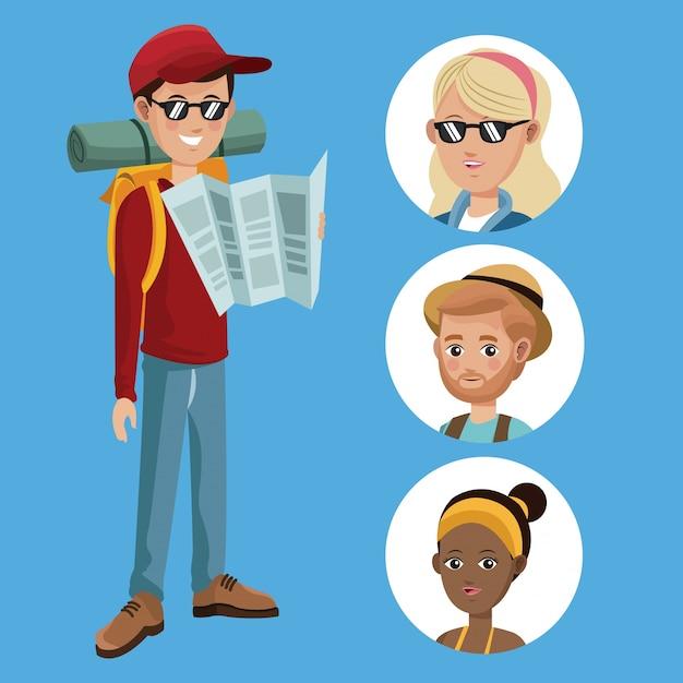 グループ女の子と少年観光読書ガイド Premiumベクター