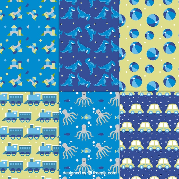 Boy Toys Patterns Vector Free Download Awesome Boy Patterns