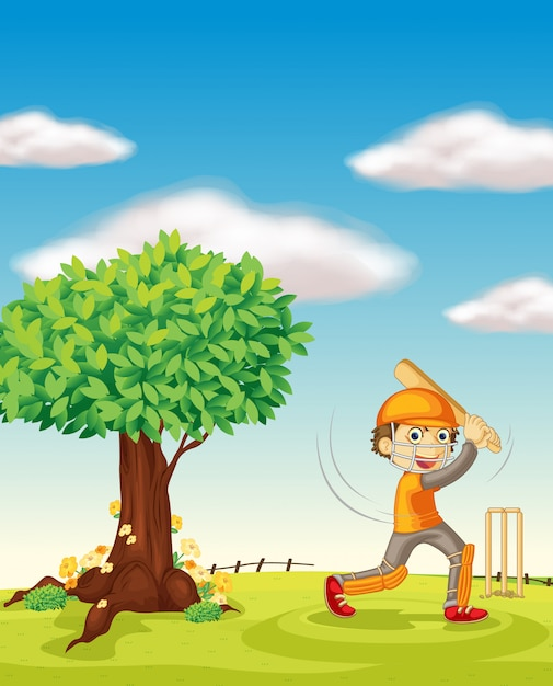 A boy and a tree Free Vector