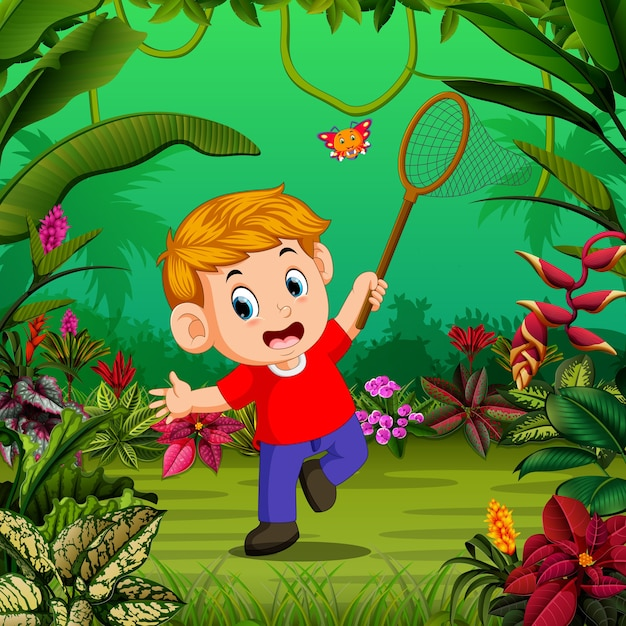 Boy tries to catch a butterfly in the forest Premium Vector