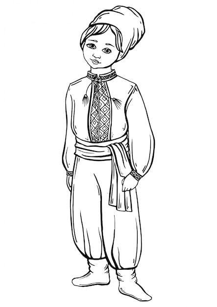 Boy in ukrainian costume Premium Vector