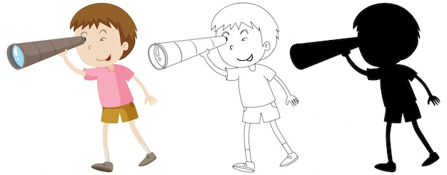 Boy using binoculars in colour and outline and silhouette Free Vector