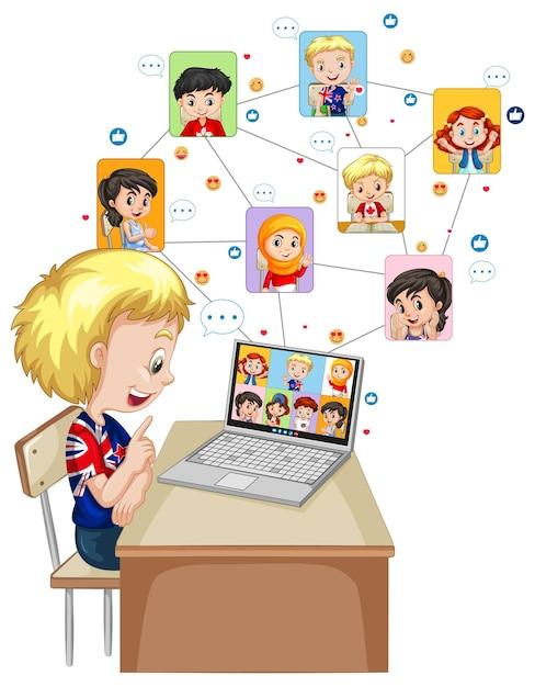 흰색 배경에 친구와 화상 통화를 위해 노트북을 사용하는 소년 무료 벡터