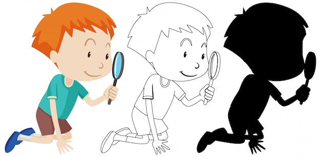 Boy using magnifying glass with its outline and silhouette Free Vector