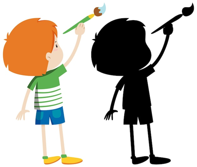 Boy using paintbrush with its silhouette Free Vector
