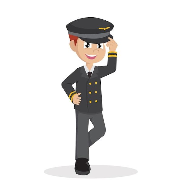 Boy using pilot costume. Premium Vector