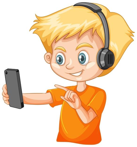 Un ragazzo che utilizza smartphone su sfondo bianco Vettore gratuito
