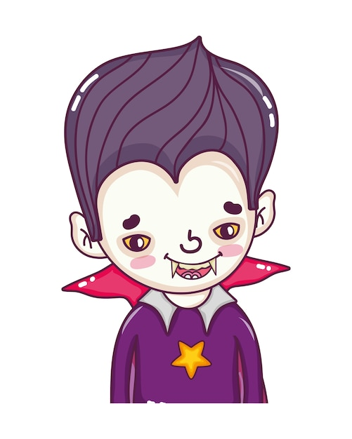 Boy vampire with teeth and gothic suit Premium Vector