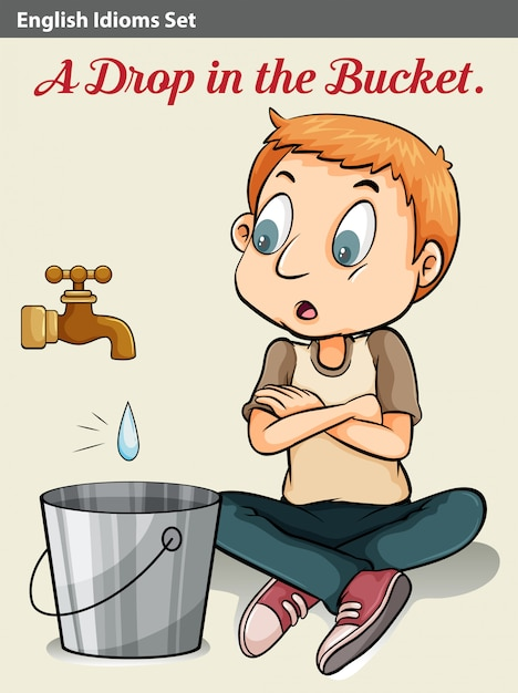 A boy watching the drop of water Free Vector