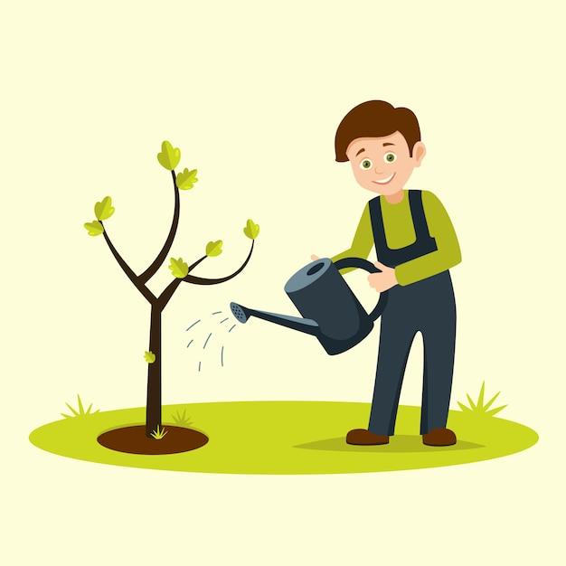 Boy watering tree Premium Vector