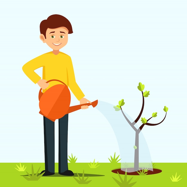 Boy watering the tree Premium Vector