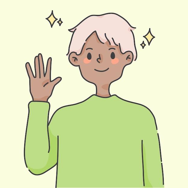 Boy waving hand greeting cute people illustration Premium Vector