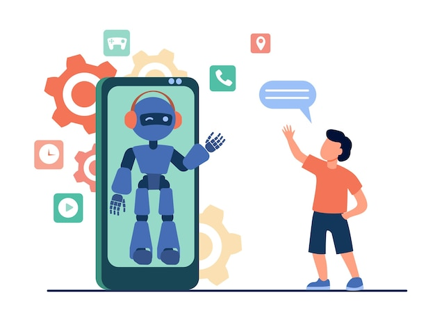Boy waving hello at humanoid on smartphone screen. chat bot, virtual assistant, mobile phone flat vector illustration. technology, childhood Free Vector
