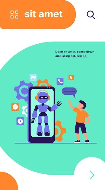 Ragazzo salutando umanoide sullo schermo dello smartphone Vettore gratuito