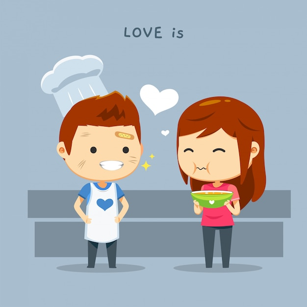 A boy wearing chef's hat and a girl with a food bowl Premium Vector