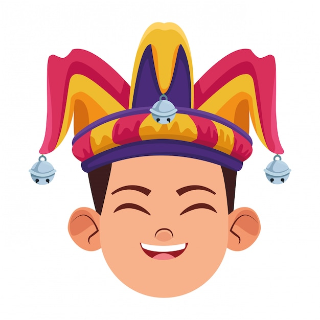 Boy wearing jester hat avatar Premium Vector