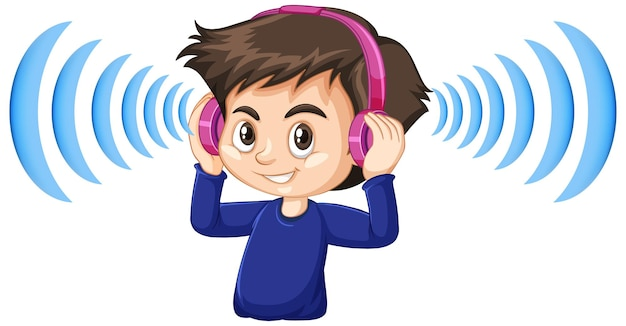 Boy wearing noise cancelling headphones Free Vector