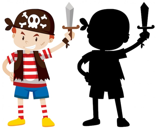 Boy wearing pirate costume with its silhouette Free Vector