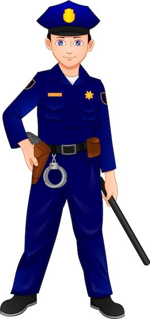 警察の衣装を着て警棒でポーズをとる少年 Premiumベクター